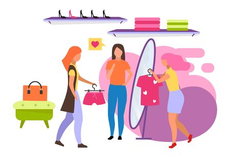 Clothing store flat vector illustration. Buyer choosing outfit at mall, boutique. Shop assistant helping customer. Buying clothes with friends isolated cartoon character on white background