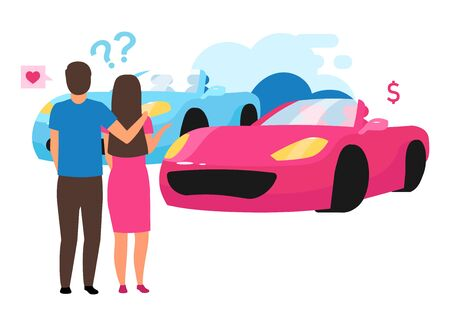 Family choosing automobile flat vector illustration. Couple doing buying decision cartoon character. Indecisive husband and wife selecting sport car, purchasing vehicle, renting car. Auto leasing