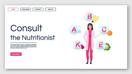 Consulting nutritionist landing page vector template. Dietitian recommendations website interface idea with flat illustrations. Vitamin balance homepage layout. Web banner, webpage cartoon concept