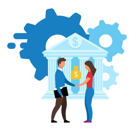 Banking offer flat vector illustration. Customer focused product, customized solutions cartoon concept. Banker, manager and bank client. Cash loan, investment, deposit deal isolated metaphor on white Ilustração
