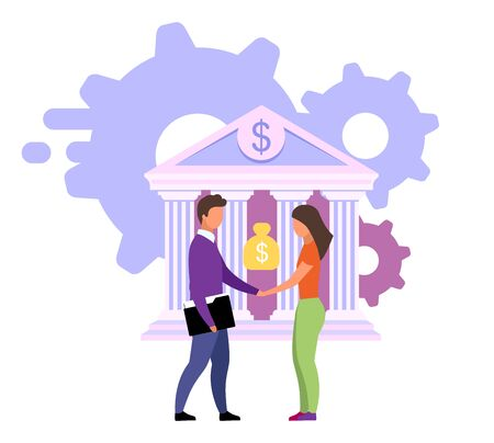 Reliable banking service flat vector illustration. Customer focused product, customized solutions cartoon concept. Banker, manager and bank client. Cash loan, investment, deposit deal metaphor Ilustração