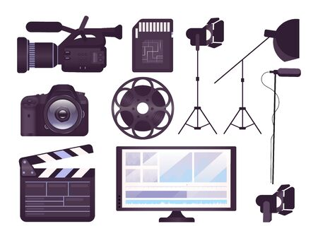 Video production equipment flat concept icons set. Professional camera, clapboard, movie reel stickers, cliparts pack. Filmmaking tools. Isolated cartoon illustrations on white background