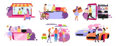 Customers and sellers flat vector illustrations set. Purchasing goods, ordering delivery online, on website. Going to supermarket, convenience store. Shopping isolated cartoon characters Vettoriali