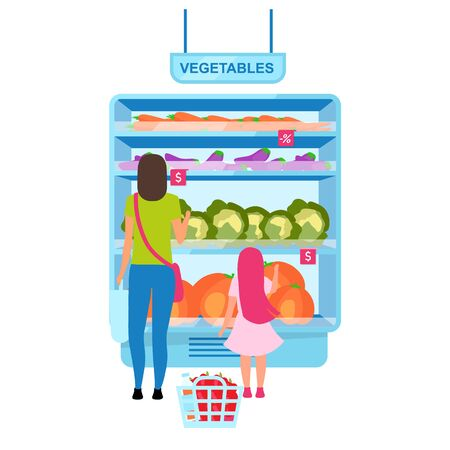 Woman choosing vegetables in greengrocery flat vector illustration. Mother and daughter selecting tomato in grocery store cartoon character. Shopping in supermarket. Customers in mall doing purchases Illustration