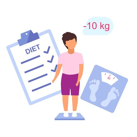 Overweight kid losing weight flat vector illustration. Teenager controlling body mass on scales isolated cartoon character on white background. Young boy following diet plan, healthy lifestyle