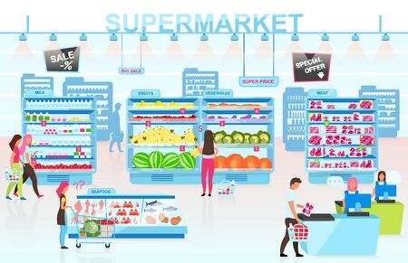 Supermarket interior flat vector illustration. People buying goods in grocery store cartoon characters. Customers choosing products in different departments. Client paying for food at cash desk