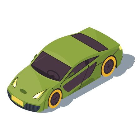Sports car isometric color vector illustration. City transport infographic. Racing car. Green supercar. Urban fast auto. Town transportation. Automobile 3d concept isolated on white background