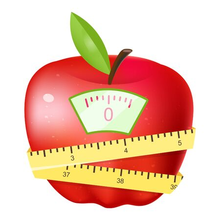 Eating fruits for losing weight flat vector illustration. Cartoon red apple with flexible measuring tape and scales  isolated on white background. Vegetarian nutrition leading to body mass loss Banque d'images - 131978666