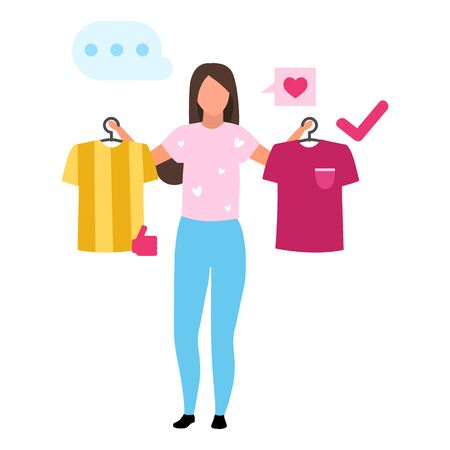 Girl buying t shirt flat vector illustration. Woman making decision, consumer in mall buying clothes cartoon character. Customer in clothing store doing purchases. Consumerism and merchandise Çizim