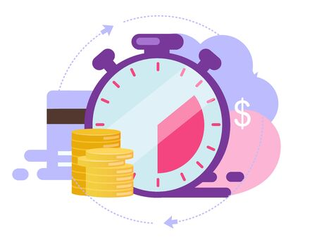 Instant payment flat vector illustration. Quick cash and credit loans services cartoon concept. Invoice payment terms on white background. Short term investment fund, Deposit period isolated metaphor Vetores