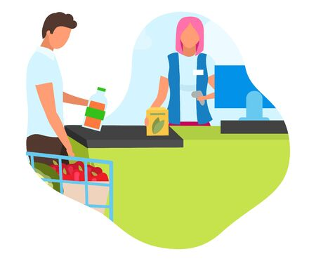 Shopping at grocery store flat concept icon. Buying products at supermarket. Hypermarket purchases. Cashier servicing customer sticker, clipart. Isolated cartoon illustration on white background Illustration