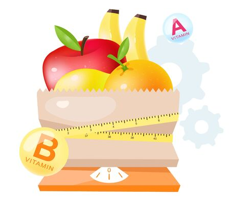 Fresh fruits in dietary nutrition flat vector illustration. Cartoon apple, orange, banana in paper bag with flexible measuring tape and scales isolated on white background. Vegetarian diet ingredients Banque d'images - 131979044
