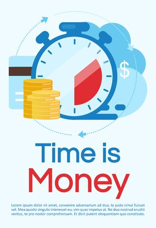 Time is money poster vector template. Investment, deposit period. Brochure, cover, booklet page concept design with flat illustrations. Instant payment.  Advertising flyer, leaflet, banner layout idea
