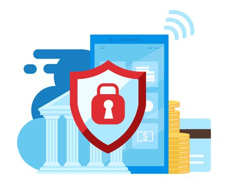 Mobile banking security flat illustration. High protection financial transactions cartoon concept. Ewallet, ebanking app. Smartphone safety and data security isolated metaphor on white background