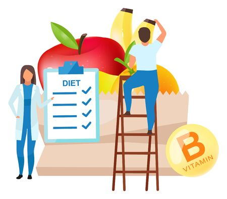 Dietitian food recommendations flat vector illustration. Female doctor adding fresh fruits to daily nutrition plan. Male buyer on ladder metaphor isolated cartoon character on white background