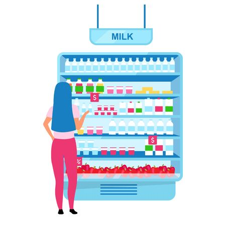 Girl choosing milk in grocery store flat vector illustration. Woman selecting dairy products in supermarket cartoon character. Shopping at farmers market. Consumerism, customer in mall doing purchases