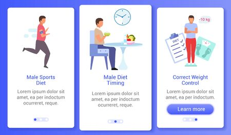 Man healthy lifestyle onboarding mobile app screen vector template. Dietary nutrition, weight control walkthrough website steps with flat characters. UX, UI, GUI smartphone cartoon interface concept  イラスト・ベクター素材