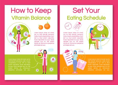 Keeping vitamin balance brochure template. Flyer, booklet, leaflet concept with flat illustrations. Vector page layout for magazine. Setting eating schedule advertising invitation with text space