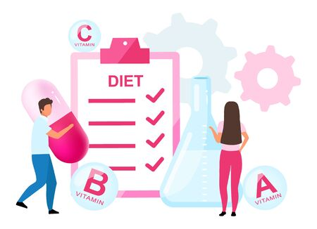 Food supplements in diet plan flat vector illustration. Man and woman taking synthetic vitamins. Pharmacologists creating dietary pills formula isolated cartoon character on white background