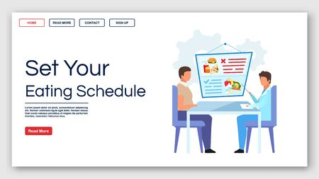 Setting eating schedule landing page vector template. Healthy nutrition website interface idea with flat illustrations. Dietitian homepage layout. Fighting obesity web banner, webpage cartoon concept