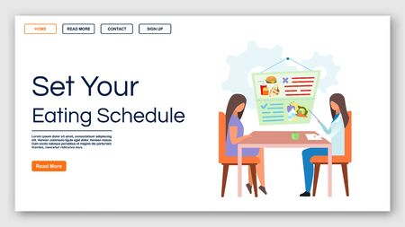 Healthy eating schedule landing page vector template. Consulting dietitian website interface idea with flat illustrations. Gastroenterologist homepage layout. Web banner, webpage cartoon concept