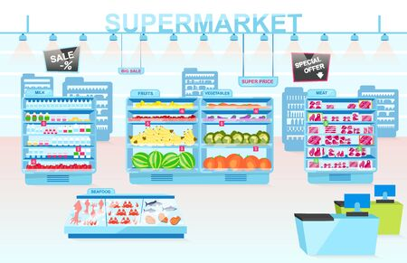 Supermarket departments flat vector illustration. Shelves with different products. Vegetables, meat, seafood, fruits and milk divisions. Grocery store interior. Consumerism and merchandise Stock Vector - 131978785