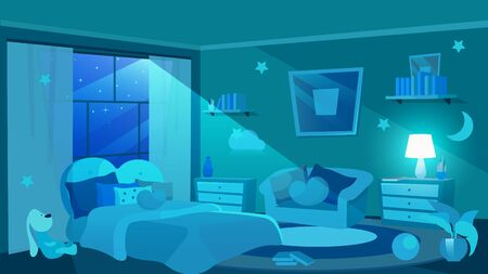 Children bedroom furnishing flat vector illustration. Moon shedding soft light through window. Girls apartment interior. Cute bed and sofa with cushions. Decorative stars and clouds on wall Vettoriali