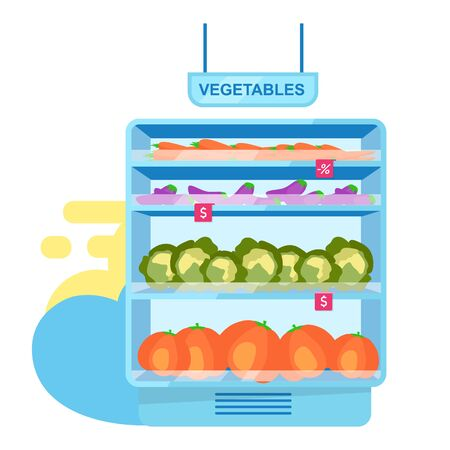 Vegetables at shop stall flat vector illustration. Farming and agriculture. Vegetarian food assortment in store. Farmers market. Healthy products in supermarket, big choice of organic goods