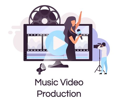 Music video production flat concept icon. Videography and multimedia sticker, clipart. Live concert, performance shooting and broadcasting. Isolated cartoon illustration on white background