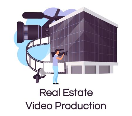 Real estate video production flat concept icon. House selling advertisement creating sticker, clipart. Building commercial and promotion shooting. Isolated cartoon illustration on white background