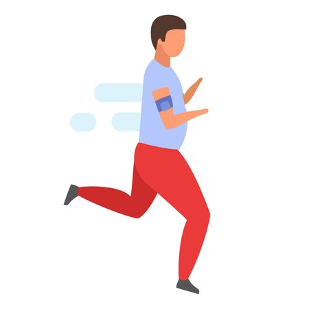 Male jogger flat vector illustration. Overweight man running to lose weight isolated cartoon character on white background. Athlete in sportswear doing sports, morning exercises, jogging Archivio Fotografico - 131978689