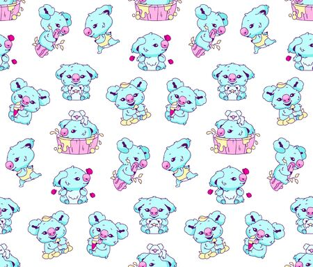Cute koala kawaii color vector seamless pattern. Adorable and funny animal bathing, eating ice cream, sitting on branch wrapping paper, wallpaper. Anime baby koala character on white  background