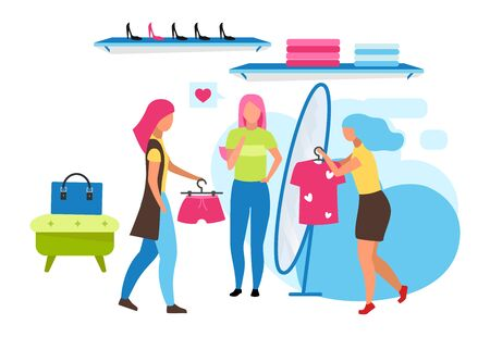 Clothing boutique assistant flat vector illustration. Choosing outfit at mall, retail store. Woman trying on clothes. Buying outfit with friends isolated cartoon character on white background Çizim