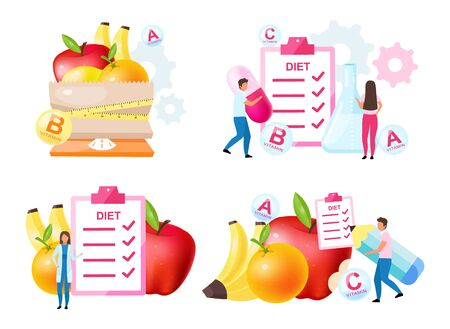 Dietology experts flat vector illustrations set. Fresh vitamins containing fruits. Choosing healthy nutrition ingredients. Scheduling diet meals. Nutritionist, doctor isolated cartoon characters Ilustração
