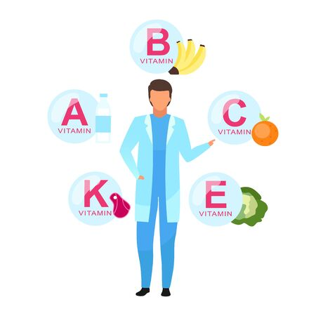 Balanced nutrition ingredients flat vector illustration. Doctor explaining vitamin sources isolated cartoon character on white background. Nutritionist offering healthy fruits, dairy, meat products
