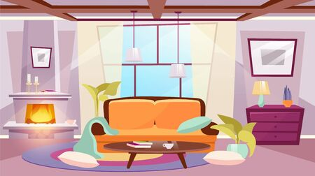 Living room interior flat vector illustration. Coffee table near classic sofa. Messy sunlit room with pillows on floor. Elegant fireplace with burning firewood and candles. Trendy panoramic window