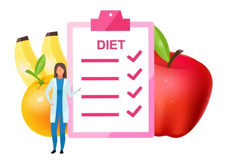 Doctor offering diet plan flat vector illustration. Female nutritionist adding fruits to nutrition ingredients. Dietitian promoting vegetarianism isolated cartoon character on white background