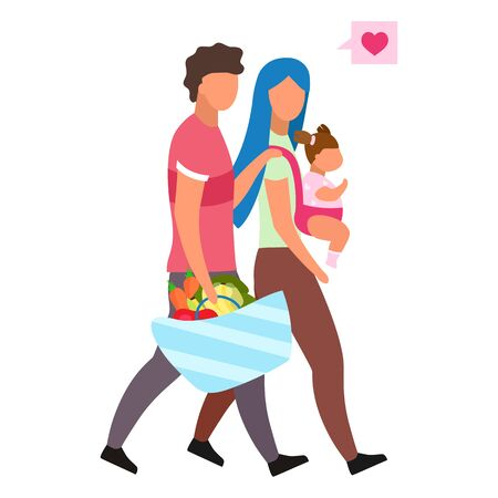 Loving family with child flat vector illustration. Young parents choosing healthy nutrition. Husband carrying basket with fresh fruits, vegetables  isolated cartoon character on white background Banque d'images - 131978694