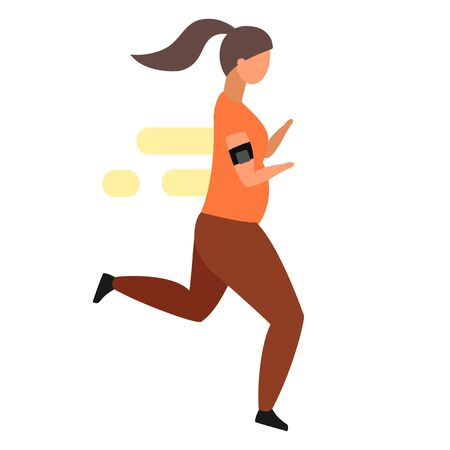 Morning jogging flat vector illustration. Obese woman in sportswear running to lose weight. Overweight lady doing physical exercises  isolated cartoon character on white background  イラスト・ベクター素材