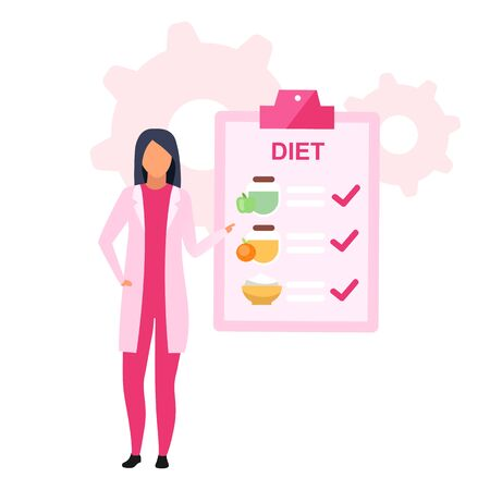 Dietary nutrition plan flat vector illustration. Female nutritionist prescribing healthy food for losing weight isolated cartoon character on white background. Dietitian recommending meals schedule
