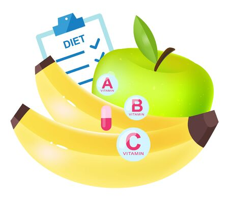 Dietary nutrition flat vector illustration. Cartoon banana and green apple as main vitamin source isolated on white background. Adding food supplements, pills to healthy lifestyle, dieting plan