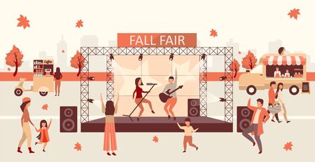 Fall fair flat vector illustration. Autumn festival and Thanksgiving day celebration. Fall rock fest, carnival with street food trucks. Rock singers on stage and concert visitors cartoon characters