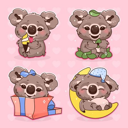 Cute koala kawaii cartoon vector characters set. Adorable and funny animal sleeping, eating ice cream isolated stickers, patches pack. Anime baby koala bear birthday present on pink background Ilustração