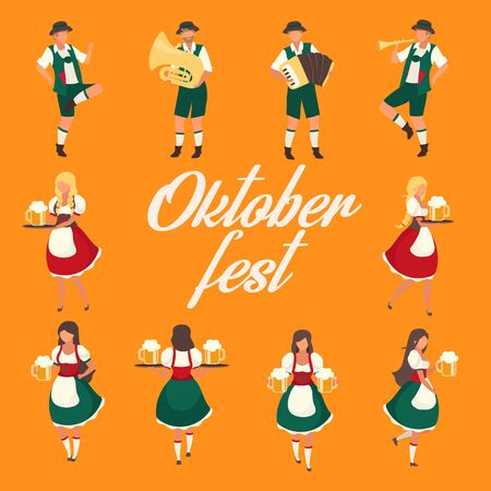 Oktoberfest social media post mockup. Folk music and dances. Beer Festival. Advertising web banner design template. Social media booster, content layout. Promotion poster, print ads, flat illustration