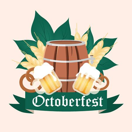 Oktoberfest social media post mockup. Barrel and cups of alcohol. Beer Festival. Advertising web banner design template. Social media booster, content layout. Promotion poster, flat illustration