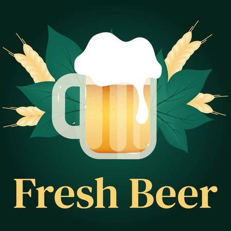 Fresh beer social media post mockup. Cups of alcohol. Beer Festival. Oktoberfest. Advertising web banner design template. Social media booster, content layout. Promotion poster, flat illustration 向量圖像
