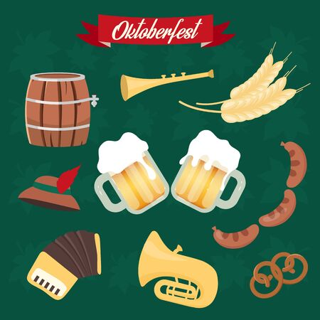 Oktoberfest flat vector illustrations set. Cups of alcohol, food. Barrel and sausages, pretzel stickers. Musical instruments. Beer Festival isolated cartoon graphics Ilustração