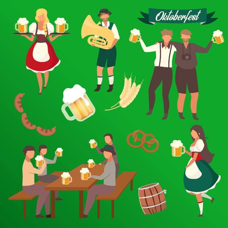 Oktoberfest flat vector illustrations set. Visitors with cups of alcohol. Waiters in national costumes stickers. Barrel and barley. Musician with trumpet. Beer Festival isolated cartoon characters