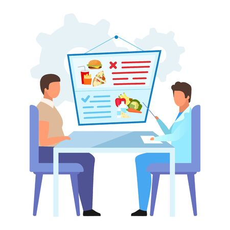 Patient visiting gastroenterologist flat vector illustration. Nutritionist offering healthy diet for obese man isolated cartoon character on white background. Doctor forbidding junk food consumption Ilustração