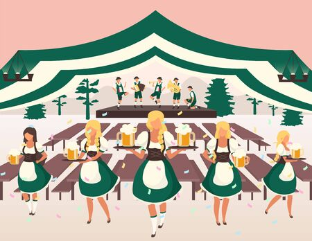 Oktoberfest flat vector illustration. Beer tent. Folk musical performance. Traditional Beer Festival show. Waiters in national costumes serving drinks. Volksfest cartoon characters
